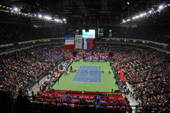 Davis Cup Finals in Belgrade, Serbia. Davis Cup Finals held in December 3-5 2010 in Belgrade, Serbia. Serbia won 3-2 in fifth match. In this picture: Serbian royalty free stock images