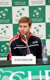 Davis Cup 2018, Nis, sportmitt Cair SERBIEN vs USA, andra dag, 03 Februari 2018, presskonferens Royaltyfri Bild