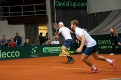 Davis Cup 2018, Nis-, sportmitt Cair USA paren, spelare Johnson Steve och Harrison Ryan som spelar i matchen mot SERBI Arkivbild