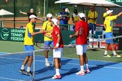 Davis Cup tennis game Ukraine v Austria Royalty Free Stock Photos