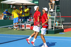 Davis Cup tennis game Ukraine v Austria Royalty Free Stock Images
