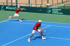 Davis Cup tennis game Ukraine v Austria Royalty Free Stock Photo
