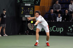 Davis Cup, tennis player Thomas Kromann in action Stock Photography