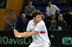 Davis Cup, Tennisspieler Thomas Kromann in der Aktion Lizenzfreie Stockfotos