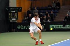 Davis Cup, Tennisspieler Thomas Kromann in der Aktion Lizenzfreie Stockbilder