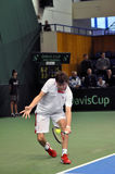 Davis Cup, Tennisspieler Thomas Kromann in der Aktion Lizenzfreie Stockfotografie