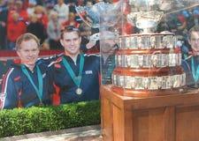 Davis Cup-trofee op vertoning in Billie Jean King National Tennis Center Royalty-vrije Stock Foto