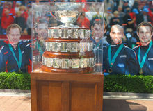 Davis Cup-trofee op vertoning in Billie Jean King National Tennis Center Royalty-vrije Stock Fotografie