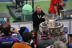 Davis Cup Trophy in Belgrade, December 2010. Davis Cup Trophy in Belgrade Arena, waiting for a winner of 98. finals royalty free stock photo