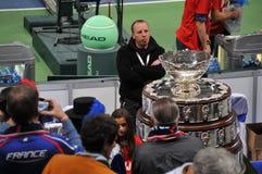 Davis Cup Trophy in Belgrade, December 2010. Davis Cup Trophy in Belgrade Arena, waiting for a winner of 98. finals Royalty Free Stock Photo