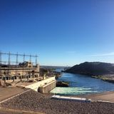 Davis Dam Viewing Laughlin Nevada. Davis Dam Overlooking the Colorado River and The Beautiful Stock Images