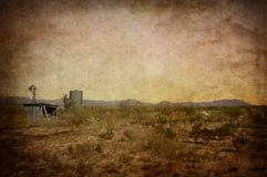Davis Mountains Windmill, Shed and Water Tank Stock Images