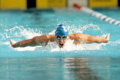Davis Tarwater. American World champion swimmer Davis Tarwater swims butterfly during the Mare Nostrum meeting in Barcelona's Sant Andreu club, June 14, 2007 in Stock Images