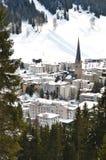 Davos, famous Swiss skiing resort Stock Photos