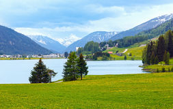 Davos Lake summer view. Royalty Free Stock Images