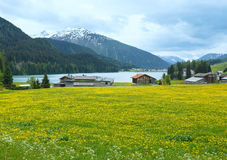 Davos Lake summer view. Royalty Free Stock Photography