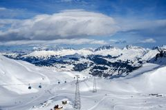 Davos mountains skiing resort Stock Photos
