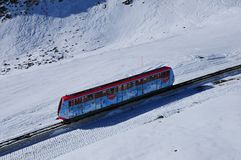 Swiss alps: Mountain railway cable car to Parsenn in Davos-City stock image