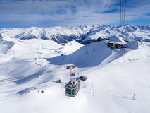 A driving cableway in Parsenn ski resort Royalty Free Stock Images