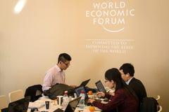 Davos World Economic Forum Annual, der 2015 sich trifft Stockbild