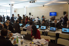 Davos World Economic Forum Annual, der 2015 sich trifft Stockfotos
