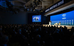 Davos World Economic Forum Annual, der 2015 sich trifft Lizenzfreie Stockfotos