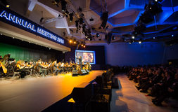 Davos World Economic Forum Annual Meeting 2015. DAVOS, SWITZERLAND - Jan 20, 2015: Opening ceremony of World Economic Forum Annual Meeting 2015 in Davos Royalty Free Stock Images
