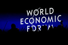 Davos World Economic Forum Annual som möter 2015 Arkivbilder