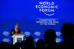 Davos World Economic Forum Annual som möter 2015 Arkivbild