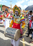 A Davul Player performs at the Hikkaduwa Perahera on the east coast of Sri Lanka. Stock Images