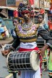 A Davul Player performs at the Hikkaduwa Perahera on the west coast of Sri Lanka. Royalty Free Stock Photos