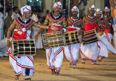 Davul Players (Davulkaruwo) bet their drums at the Kataragama Festival in Sri Lanka. Royalty Free Stock Photography