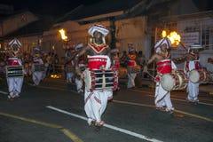 Davul Players perform along the streets of Kandy, Sri Lanka, during the Esala Perahera. Stock Image