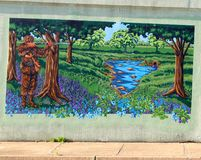 Davy Crockett Mural On en brogångtunnel på James Road i Memphis, Tennessee Arkivfoto