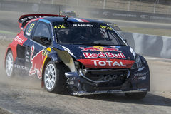 Davy JEANNEY Peugeot 208 Barcelona FIA World Rallycross Royalty-vrije Stock Foto's