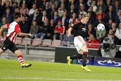 Davy Pröpper PSV Eindhoven and  Bastian Schweinsteiger Manchester united Royalty Free Stock Images