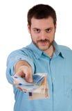 dawać mężczyzna pieniądze ja target524_0_ Obraz Stock