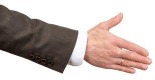 Dawać męskiej ręce w garniturze zdjęcie stock