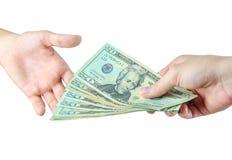 Dawać pieniądze Zdjęcie Royalty Free