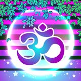 Dawali spiritual sign Om over the vibrant beaming background. Trendy and bright artwork compositin. Vector illustration. Dawali spiritual sign Om over the Stock Image