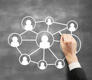Dawing concept social network Stock Photography