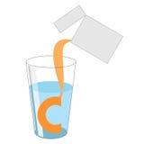 Dawka proszek z witaminą C nalewa z pakunku int ilustracja wektor