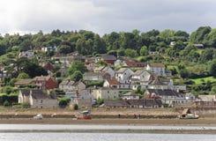 Dawlish, Devon : marée basse et bateaux à voile maisons de devonshire photos libres de droits