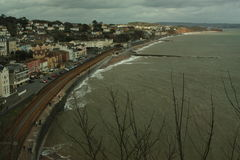 Dawlish, ligne de train de Devon Photos stock