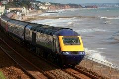 The Dawlish train. A diesel engine passes through dawlish station on the famous Brunel South Devon coastal route stock photo