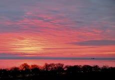 Dawn's Wcześnie światło Odbijający na Zamarzniętym brzeg jeziora zdjęcie stock