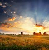 Dawn σε ένα πεδίο στοκ φωτογραφία με δικαίωμα ελεύθερης χρήσης