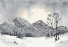 Dawn στα χιονώδη βουνά Απεικόνιση αποθεμάτων