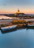 Dawn στα saltpans Marsala στοκ φωτογραφία με δικαίωμα ελεύθερης χρήσης