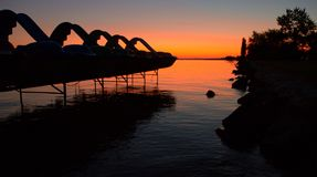 Dawn στη λίμνη Balaton Στοκ εικόνα με δικαίωμα ελεύθερης χρήσης